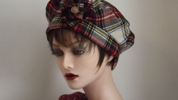 Ladies Scottish Hat, Stewart Tartan Tam, Cloche, Beret