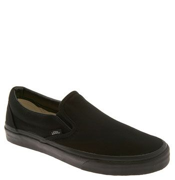 Black Vans slip-ons. Wear these everywhere. With everything. Every season. Wearing socks or not.