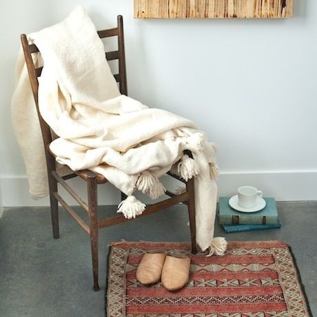 17 Best Images About Moroccan Wool Blanket With Pom Poms