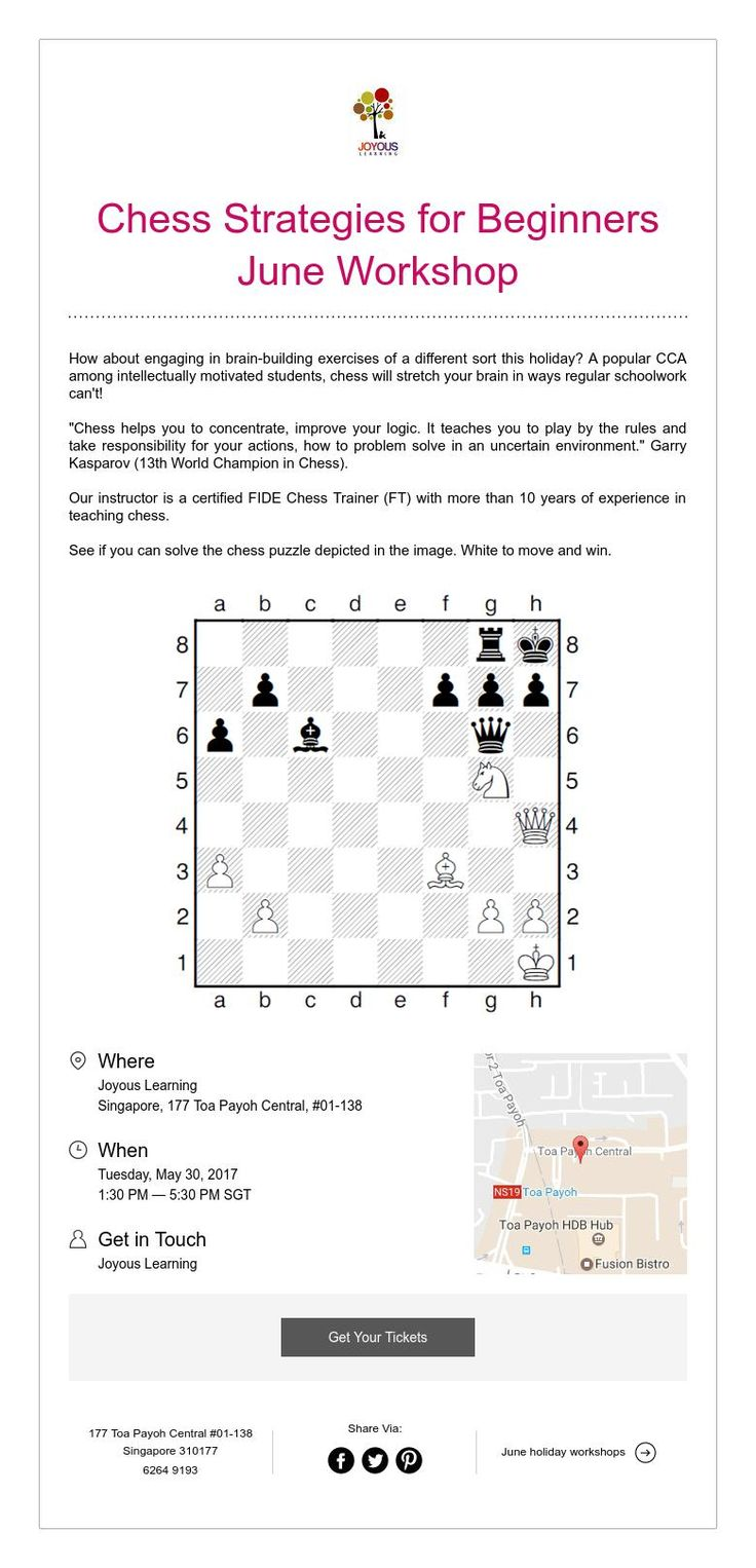 Chess Strategies for Beginners June Workshop New Session - 9 Jun,