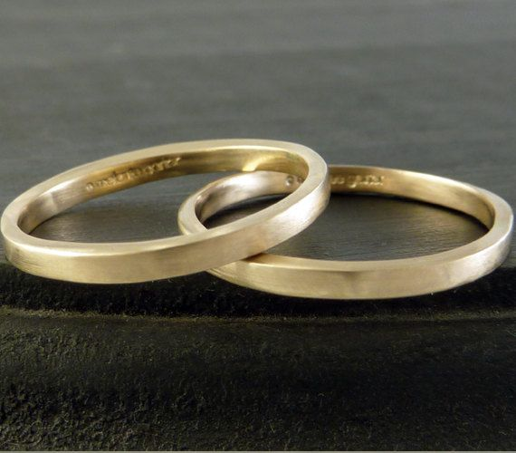 Set of Two Recycled Gold Wedding Ring Band or Stackers, 14k, Thin Matte Finish on Etsy, $460.00