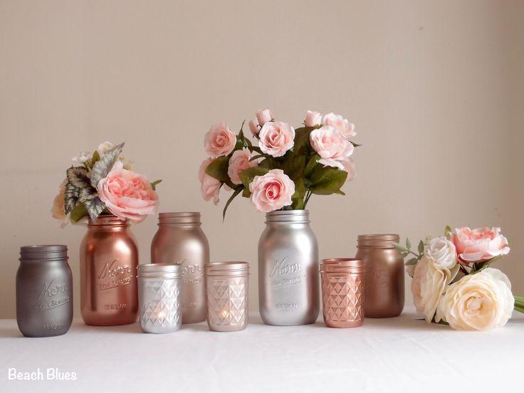 Blush Rose Gold Wedding Decor Centerpiece Metallic Mason Jars Copper Silver Grey