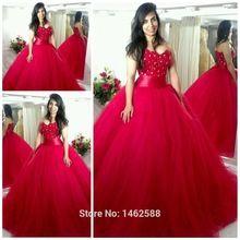 Elegante frisada Lace querida corpete espartilho vermelho vestido de baile vestidos de casamento 2015 Custom Made vestido de noiva(China (Mainland))