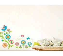 Flowers, Bird and Butterflies wall sticker available at www.kidzdecor.co.za. Free postage throughout South Africa