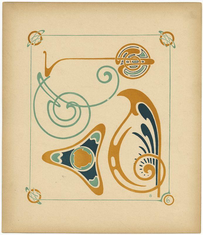 Art nouveau pattern design from the book combinaisons for Miroir art nouveau