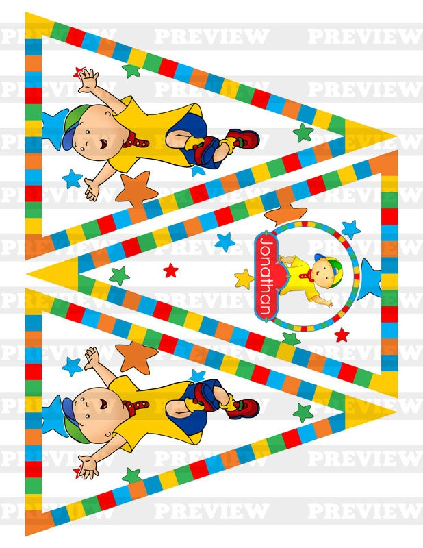 Caillou  Custom Triangle Banner / Pennant / by Papercraft4U