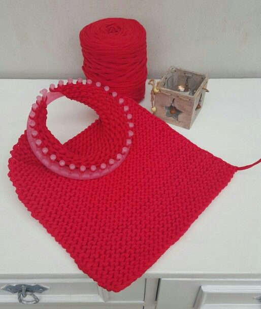 Loom knitting obręcz dziewiarska KotToOn T-shirt yarn www.knitpl.com zpagetti