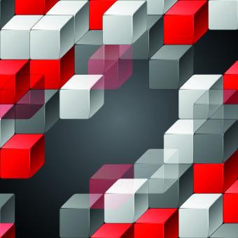 3D Geometric shapes backgrounds 02 vector