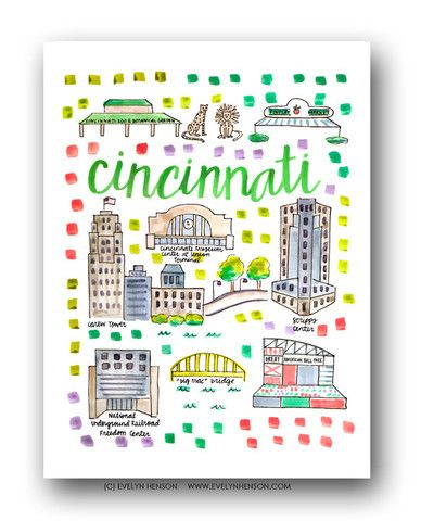 Cincinnati Map Print by Evelyn Henson