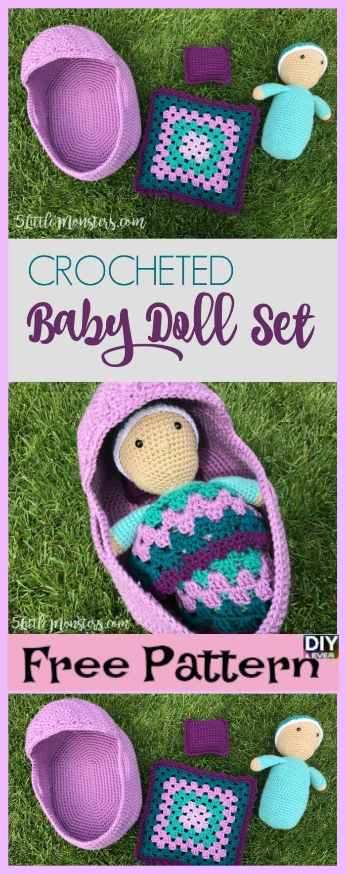 diy4ever- Crocheted Baby Doll Set Free Pattern Video #freepattern #CrochetBaby