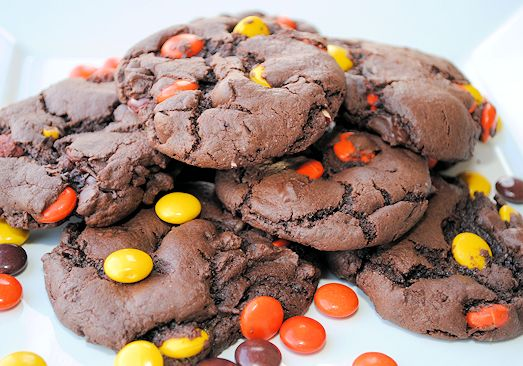 Soft and chewy Chocolate Reese's Pieces Cookies