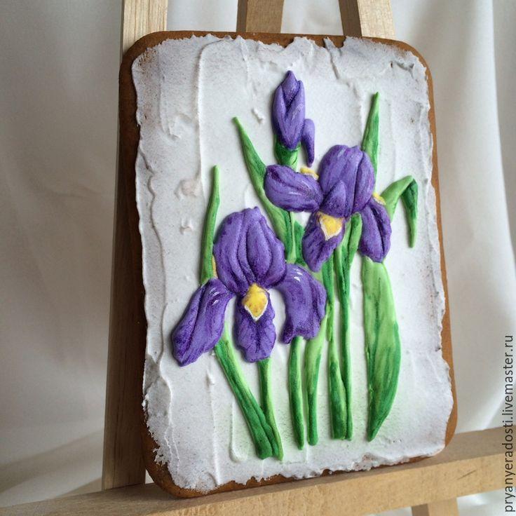 """Купить Пряник-открытка """"Ирисы"""" - фиолетовый, ирисы, пряник, пряник расписной, пряник имбирный"""