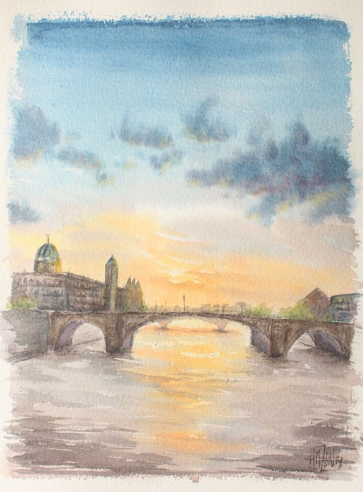 Escenas en acuarela - Atardece en el rio. Watercolor scenes - Sunset in the river. HMZEN'14