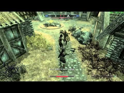 Skyrim Video: Shows fighting between viking like soldiers and knight like warriors.