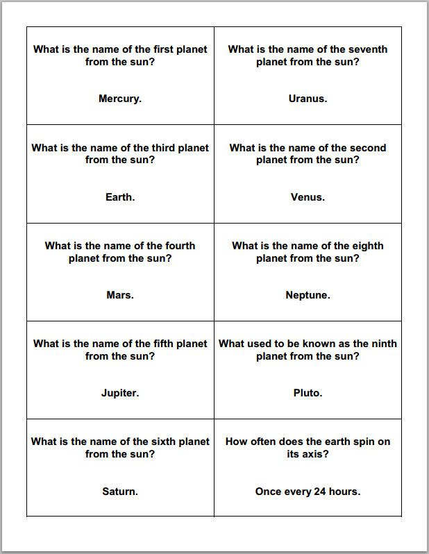 Astronomy and Planets Printable Trivia Question Cards ...