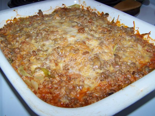 Man That Stuff Is Good!: Stuffed Cabbage Casserole: cabbage, ground beef, onion, 1 cup instant rice, 10 0z can of tomato soup, 2 cups water, shredded cheddar cheese, salt/pepper. bake at 350 for 1-1 1/2 hours until cabbage is tender.