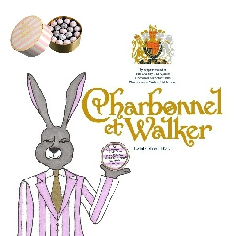 The Duke of Earl Grey for @Charbonnel et Walker chocolates, Pink Marc de Champagne truffles (with company logo and photo).