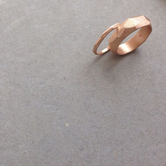 Rose gold 14k wedding rings,bridal ring, groom ring,wedding bands,solid gold,custom made wedding,baladi,gift for woman,faceted,raw design