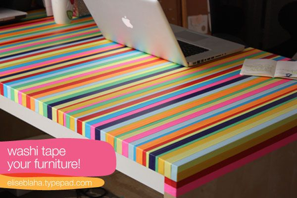 DIY washi tape rainbow desk?! Obsessed.
