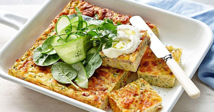 This zucchini slice is packed full of veggies and makes for a delightful lunch. With the addition of ham off the bone, and grated cheese, you can't beat this family favourite!