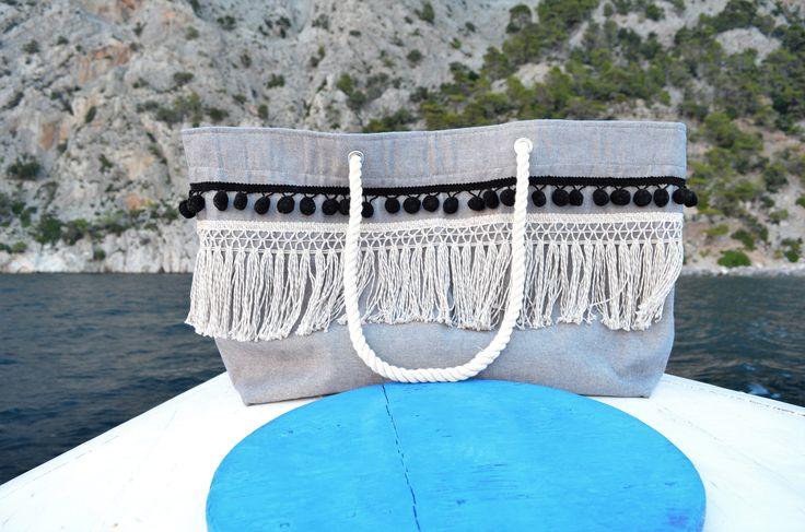 Breeze - Summer Large Tote - summer bag - beach bag - boho bag - canvas bag - beach tote - pom pom bag - canvas tote - fringe bag - tote by CirceGoods on Etsy