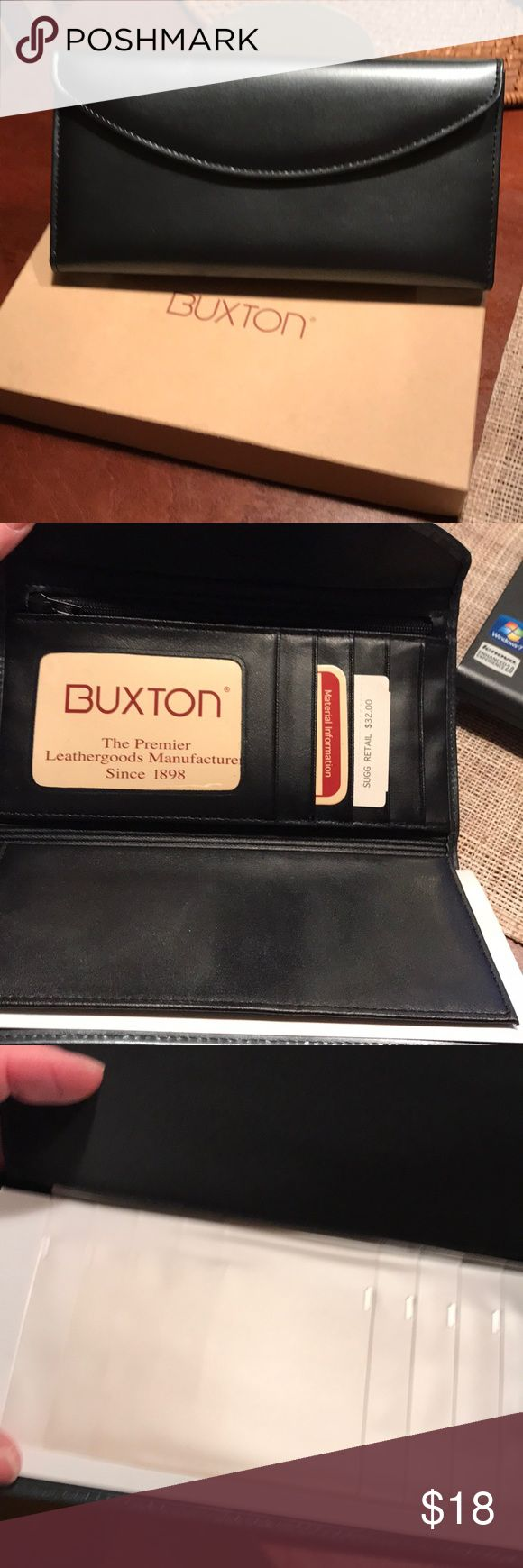 Buxton Leather Wallet New leather wallet by Buxton.  Dark gray. Buxton Bags Wallets