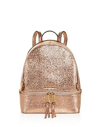 3c2c2f1aa710 Michael Kors Rose Gold Rhea Backpack Medium