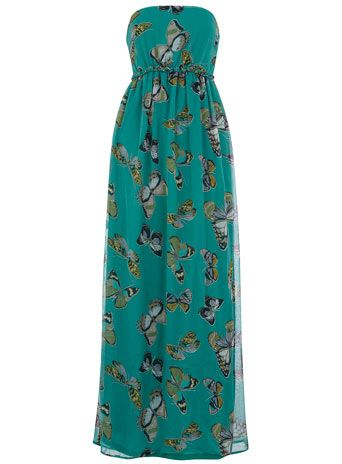 Green butterfly maxi dress