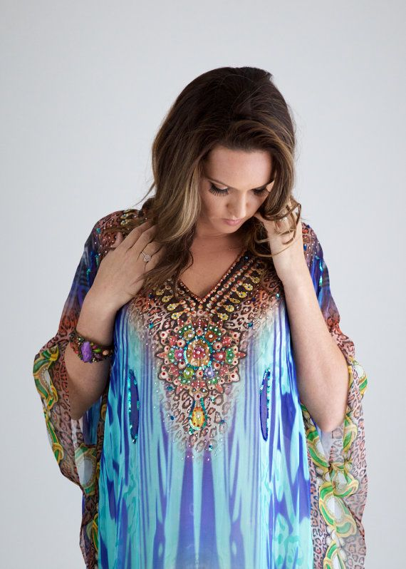 Kaftan dress, embellished Viscose Georgette blue/green print relaxed fit gorgeous kaftan for beach or smart casual wear