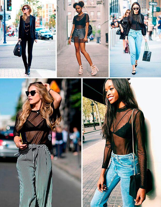 Para aderir a nova moda das transparências, você só vai precisar de uma blusa transparente e um sutiã ou top bonitinho pra colocar por baixo. O único cuidado é combinar com as peças certas