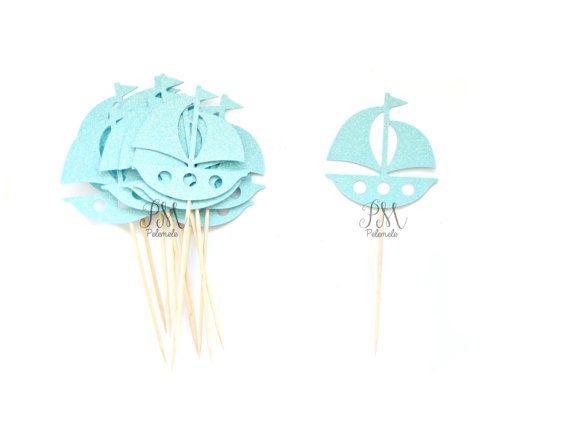 12 Glitter Sailboat Cupcake Toppers Nautical Cupcake by Pelemele