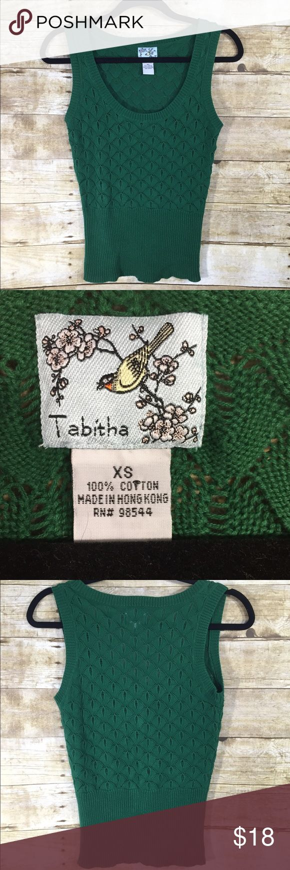Anthropologie Tabitha Green Sweater Vest Adorable perfect for fall green sleeveless scoop neck sweater vest from Tabitha an Anthropologie brand. In very good used condition! Anthropologie Sweaters Crew & Scoop Necks