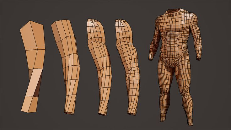 Character Design Maya : Male body model and arm modeling process tutorial at