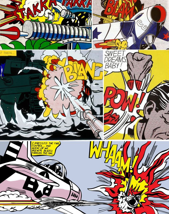 Roy Lichtenstein, Pop Art, Lichtenstein Explosions, 1960's,Comic Strips, Typography, Strong Colors