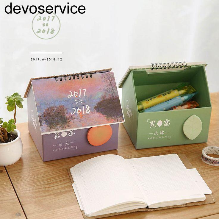 2018カレンダー収納ボックスメモパッドクリエイティブかわいいハウスデスクカレンダー小さな新鮮な多機能ノートデスクトップカレンダー