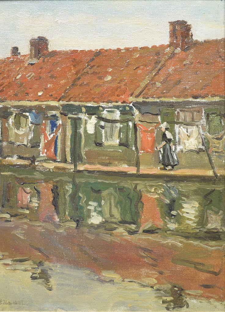 Dirk de Vries Lam (1869-1937) Titel: Maandag wasdag in Volendam - Artiquair