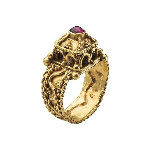 Merovingian Architectural Ring, mid 6th century, made in Gaul (France), gold and garnet
