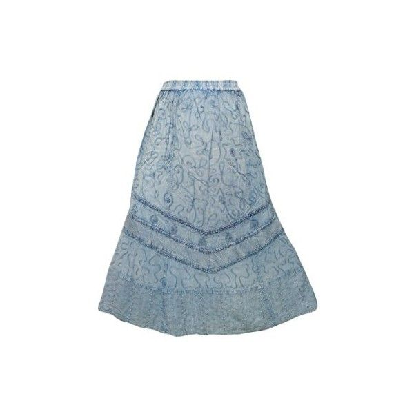 Women's Maxi Skirt Stonewashed Embroidered Bohemian Summer Skirts XL ($37) ❤ liked on Polyvore featuring skirts, summer maxi skirts, bohemian style skirts, long skirts, ankle length skirt and blue maxi skirt