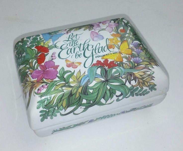 Warner Let the Earth be Glad Psalm 97:1 NIV Trinket Box Ceramic Floral 4 x 3 x 2 #Warner