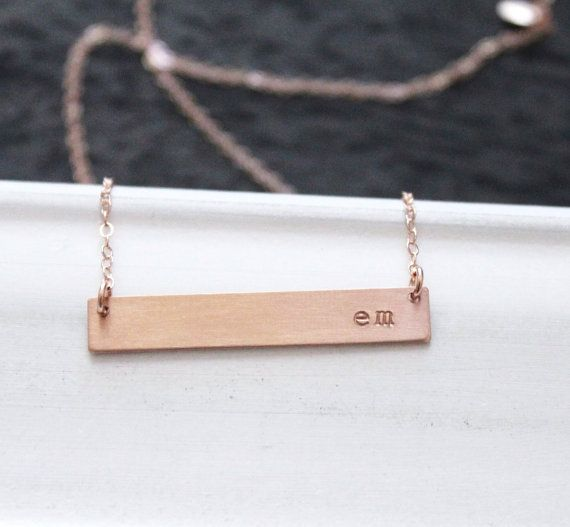 Rose Gold Nameplate Necklace -- Rose Gold Bar Necklace  || Includes ||  ✚Thick 1.5 inch {38mm} Rose Gold Filled Rectangle Hand stamped with your