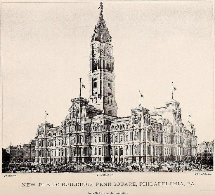 McArthur's projected design for the new city hall building on Penn Square, Philadelphia