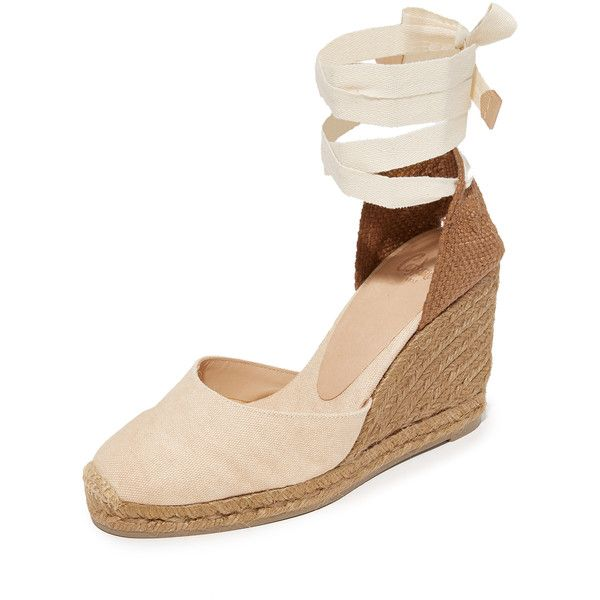 Castaner Net Fabric Wedge Espadrilles (1.974.675 IDR) ❤ liked on Polyvore featuring shoes, sandals, nude, espadrille wedge shoes, wrap around sandals, braided ankle-wrap sandal, wrap sandals and wedge sandals
