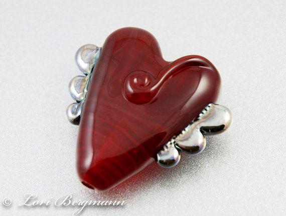 Handmade Lampwork Focal Bead Red Winged Heart SRA by @LoriBergmann: Beads Red, Handmade Lampwork, Glasses Beads, Beads Beads, Beads Eyes Candy, Lampwork Beads, Lampwork Heart, Focal Beads, Heart Beads