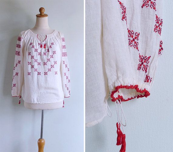 MARCH SALE (See Shop) Vintage 40's Romanian Hand Embroidered Traditional Ethnic Red Blouse Top XS S or M