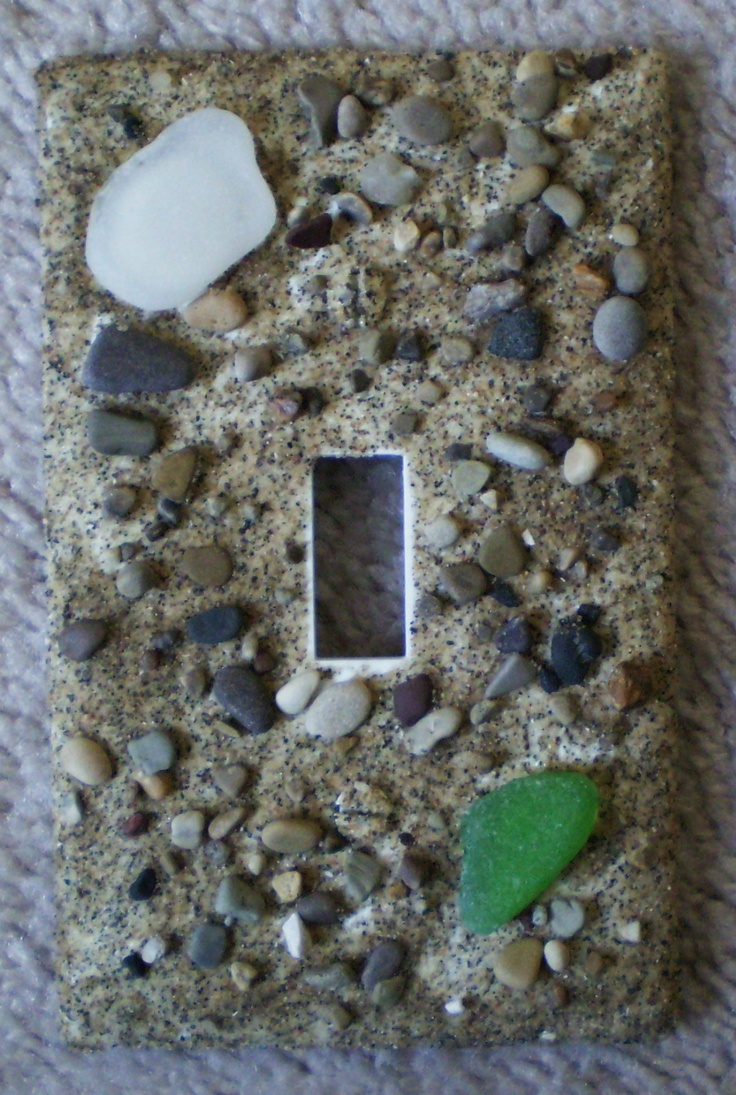 Arts and crafts switch plate covers - Lake Michigan Beach Glass Sea Glass Switch Plate Wall Cover Hand Crafted