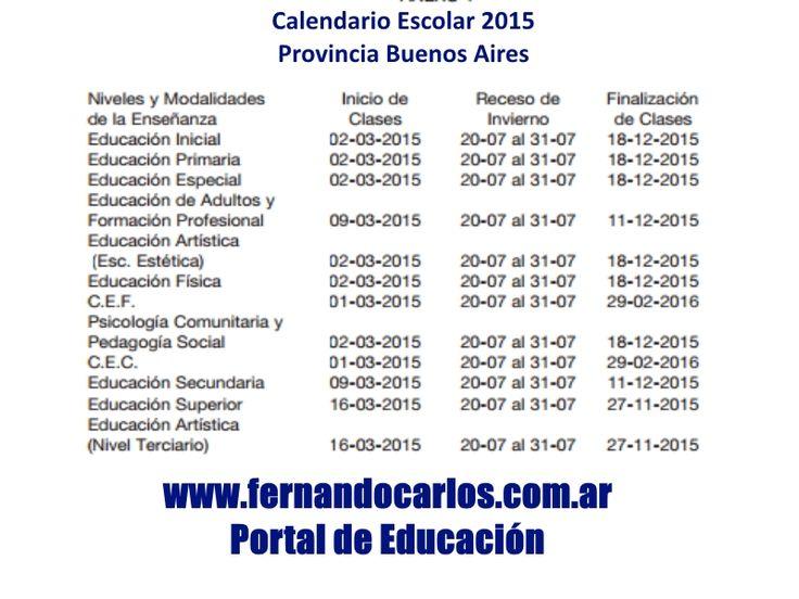 calendario escolar argentina 2015 - Buscar con Google