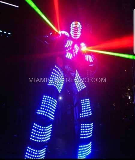 Bringing LED Robots to your party in Miami Florida. For kids birthdays, wedding receptions, adult birthdays, engagement parties, anniversaries, bridal shows, bachelor parties, business promotions, bar mitzvahs, bah mitzvahs, sweet 15 or 16, 50th birthday party ideas and more. #LED Robot party #LED Robot #http://miamisuperhero.com/led-robot-party-service/