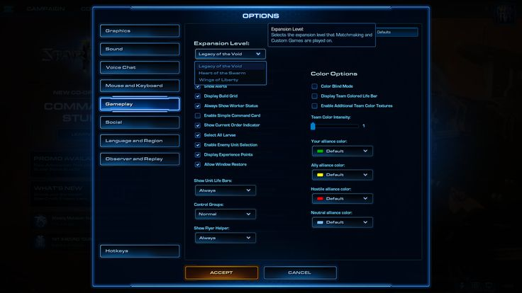 "my ""expansion level"" setting looks like this but i dont own lotv or hots. can i still play the current up do date ladder with lotv units? #games #Starcraft #Starcraft2 #SC2 #gamingnews #blizzard"