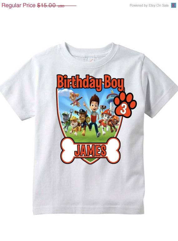 12 Hours Only SCHOOL SALE Paw Patrol Personalized Birthday Shirt