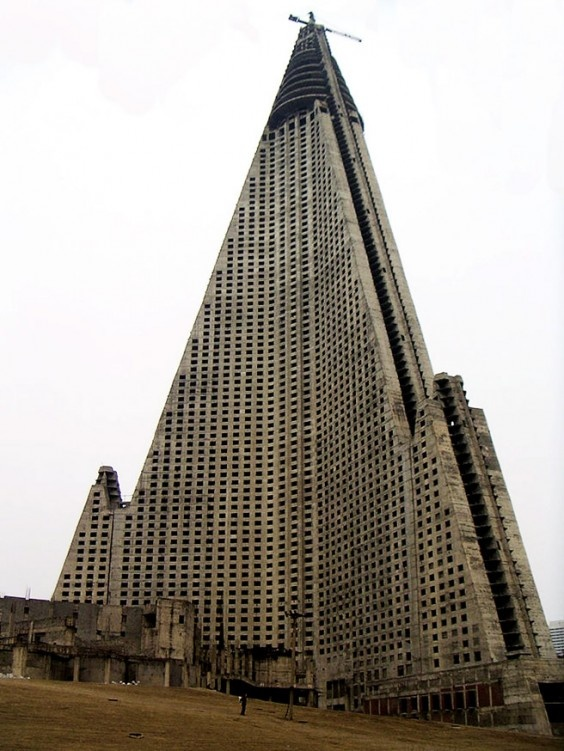 """""""The Ryugyong Hotel in NORTH Korea. Construction began in 1987 but was halted in 1992 and it sat without windows or interior fittings for the next sixteen years. Construction resumed in April 2008."""""""